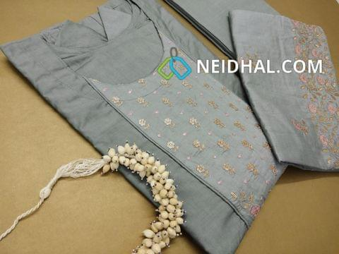 PAGE 3: Designer Semi Stiched Greyish Blue Soft Chanderi Silk Anarkali Kurta (lining attached, can be stitched up to 44 Size) neck pattern with heavy zari and sequins  and thread work on yoke, 3/4 sleeves with heavy work , Greyish Blue cotton bottom, Heavy zari and sequins and thread work on Soft Chanderi silk dupatta.(Jewellry not included)