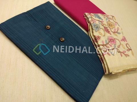 Blue Silk Cotton Unstitched Salwar material(requires lining) with fancy buttons, Pink Cotton bottom, Colorful Floral Heavy thread work on cream soft Silk cotton dupatta with zari weaving and tassels