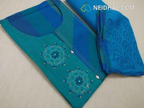 Designer Blue Chanderi Silk Cotton unstitched salwar material(requires lining) with neck pattern, thread work and zari thread work on yoke, fancy buttons, cotton bottom, Block printed Blue chiffon dupatta with taping.