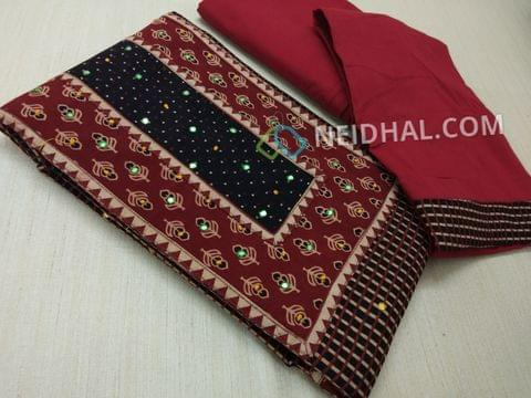 Premium Ajrak Printed Black Cotton Unstitched salwar material(requires lining) with thread and foil mirror work on yoke, maroon cotton bottom, maroon mul cotton dupatta with tapings