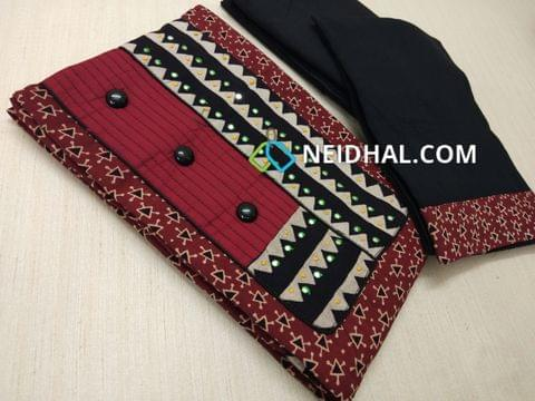 Premium Ajrak Printed Maroon Cotton Unstitched salwar material(requires lining) with thread and foil mirror work on yoke, fancy buttons, black cotton bottom, black mul cotton dupatta with tapings