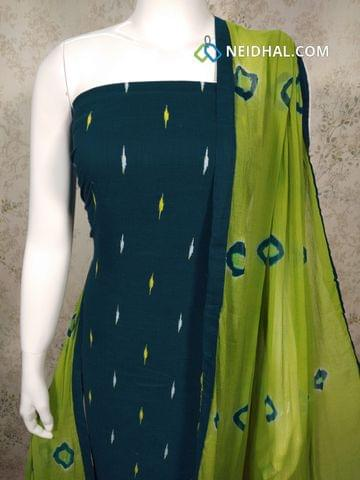 Ikkat Printed Blue Handloom cotton unstitched salwar material, Green cotton bottom,  Printed Green chiffon dupatta with taping