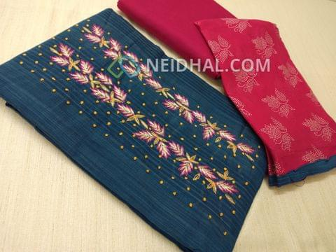 Blue Silk Cotton unsitched salwar material(requires lining) with zari thread, french knot work on yoke, daman patch, Pink cotton bottom, dew drops work on pink chiffon dupatta.