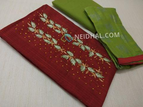 Maroonish Red Silk Cotton unsitched salwar material(requires lining) with zari thread, french knot work on yoke, daman patch, Green cotton bottom, dew drops work on Green chiffon dupatta.