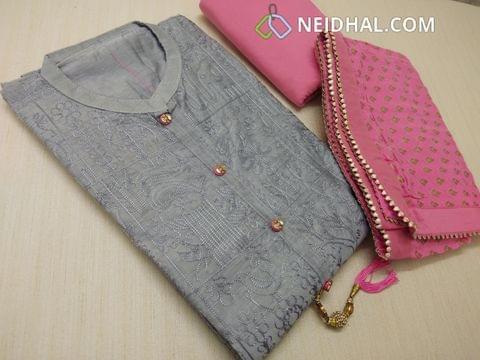Silver Grey Chanderi unstiched salwar material(requires lining) with heavy thread work on front side, plain back, fancy buttons and tassels, peachish pink silk cotton bottom, golden weaving on chiffon duappa with fancy borders.