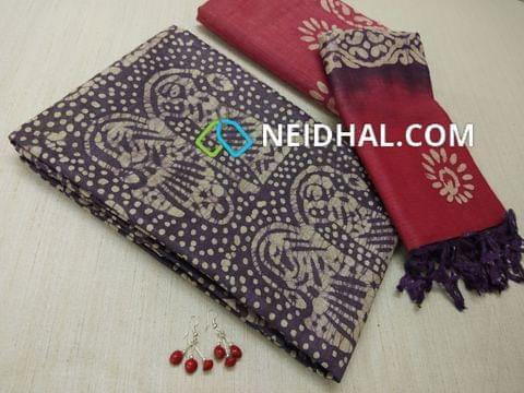 Batik Printed Bluish Purple Bhagalpuri cotton silk(thick fabric, lining not required), Pinkish Red Bhagalpuri cotton silk with prints at bottom side, Dual color Bhagalpuri Cotton silk dupatta with batick prints and tassels.