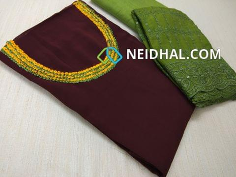 Designer Maroonish Brown Georgette unsitched salwar material(requires lining) with Heavy thread work on yoke,  Green Silk cotton bottom, Heavy thread and sequins work on green Chiffon duaptta with laces.