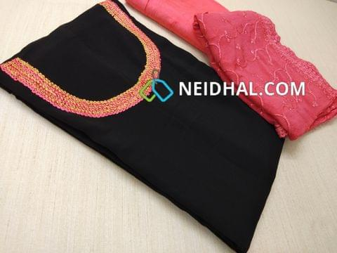 Designer Black Georgette unsitched salwar material(requires lining) with Heavy thread work on yoke,  Pink cotton bottom, Heavy thread and sequins work on Pink Chiffon duaptta with laces.