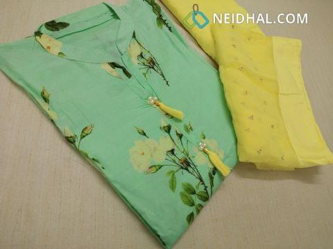 Designer Masleen Silk unstitched salwar material(Very soft and thin material, requires lining) with neck pattern, digital print on front and back side, yellow cotton bottom, Yellow Pure Chiffon dupatta with dew drop work and taping.