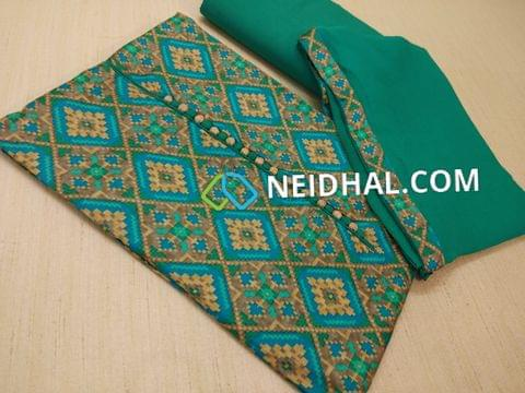 Patola Printed Blue and Green Satin cotton unstitched salwar material(lining optional) with potli buttons, Turquoise blue cotton bottom, Turquoise Blue Chiffon Dupatta with taping.