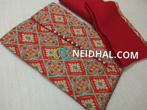 Patola Printed Red and Orange Satin cotton unstitched salwar material(lining optional) with potli buttons, Red cotton bottom, Red Chiffon Dupatta with taping.