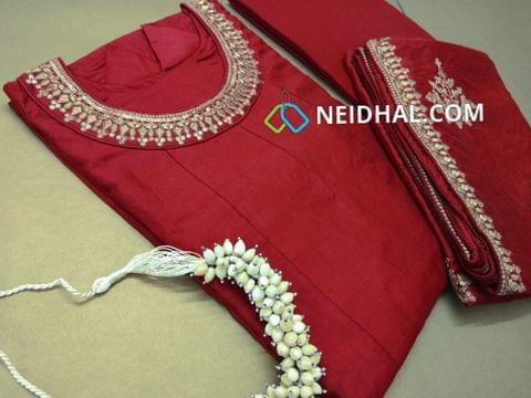 (PRE ORDER CAN SHIP ON 25TH SEPTEMBER) PAGE 3: Designer Semi Stiched Red Soft Chanderi Silk Anarkali Kurta (lining attached, can be stitched up to 44 Size) Round neck pattern with heavy zari and sequins work yoke design, 3/4 sleeves with heavy work , heavy work on daman, Red cotton bottom, Heavy zari and sequins work on Soft Chanderi silk dupatta.(Jewellry not included)