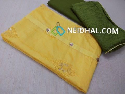 Designer Yellow Silk Cotton unstitched salwar material(requires lining) with thread and sequins work on front side, plain back, green cotton bottom, Green Soft silk dupatta with heavy embroidery work and taping