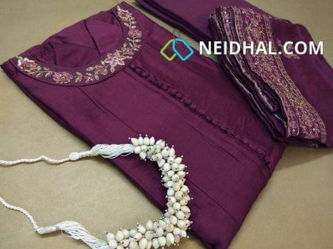 PAGE 3: Designer Semi Stitched Purple Soft Chanderi Silk Anarkali Kurta (lining attached, can be stitched up to 44 Size) Boat neck pattern with heavy zari ,sequins and thread work, Potli buttons on yoke, 3/4 sleeves with heavy work , Purple Drum dyed cotton bottom, Heavy zari and sequins and thread work on Soft Chanderi silk dupatta.(Jewellry not included)