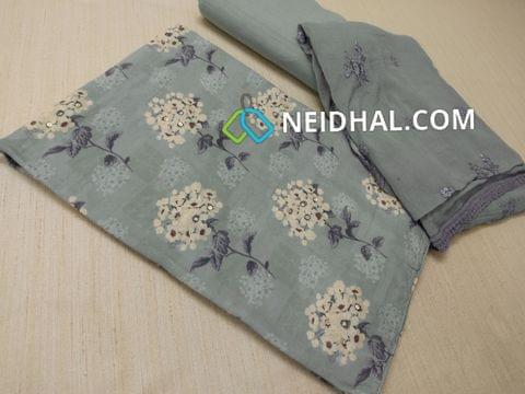 Premium Blueish Grey Digital printed Silk Cotton unstitched salwar material(thin fabric, requires lining) with sequins work on front side, Greyish Blue drum dyed cotton bottom, Greyish Blue Chiffon dupatta with sequins, thread work and lace taping.