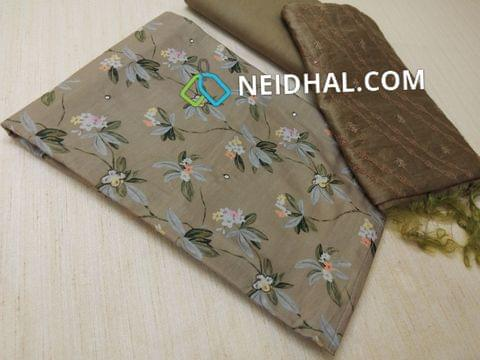 Premium Brown Digital printed Silk Cotton unstitched salwar material(thin fabric, requires lining) with sequins and work on front side, drum dyed cotton bottom, Soft silk cotton dupatta with thread work, taping needs to be done.