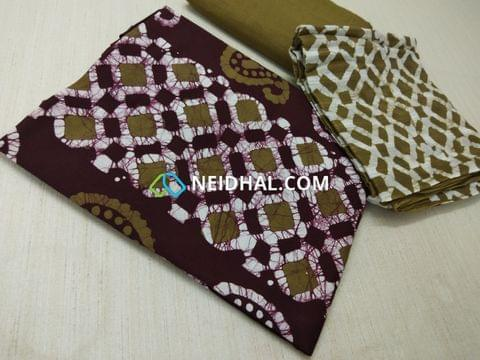 Maroon Cotton unstitched salwar material(requires lining) with batik Printed, cotton bottom, batik printed Dual color cotton dupatta.(requires taping)