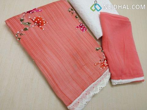 Peachish pink Satin cotton unstitched salwar material with floral prints and french knot work, lace daman, Chikan work white cotton bottom, Peachish pink chiffon dupatta with lace taping