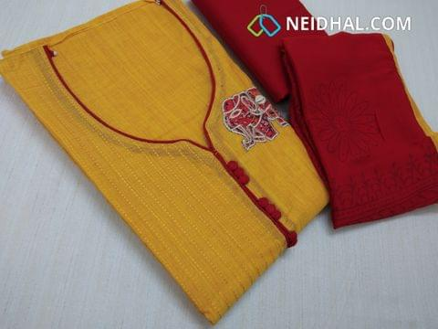 Yellow Silk Cotton salwar material(requires lining) with pintuck work, neck pattern, elephant patch work on right side, Red cotton bottom, Block printed red chiffon dupatta with taping