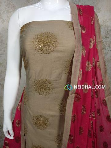 Designer Beige Silk Cotton(requires lining) unstitched Salwar material with Zari thread work on front side, plain back side, Pink Silk cotton bottom, Zari thread embroidery work on pink chiffon dupatta with tapings.