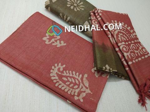 Batik Printed Dark Peachish Red Bhagalpuri cotton silk(thick fabric, lining not required),Green Bhagalpuri cotton silk with prints at bottom side, Dual color Bhagalpuri Cotton silk dupatta with batick prints and tassels.