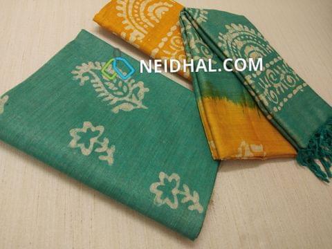 Batik Printed Green Bhagalpuri cotton silk(thick fabric, lining not required), Yellow Bhagalpuri cotton silk with prints at bottom side, Dual color Bhagalpuri Cotton silk dupatta with batick prints and tassels.