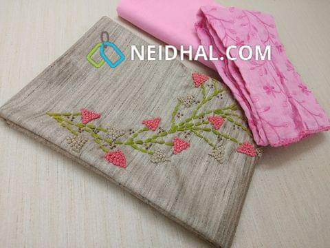 Premium Silver Grey Geecha Semi Jute Silk Cotton unstitched Salwar material(requires lining) with French knot and thread work on yoke, Pink cotton  bottom, Heavy thread work on silk cotton dupatta with laces.