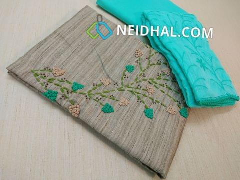 Premium Silver Grey Geecha Semi Jute Silk Cotton unstitched Salwar material(requires lining) with French knot and thread work on yoke, Blue cotton  bottom, Heavy thread work on silk cotton dupatta with laces.