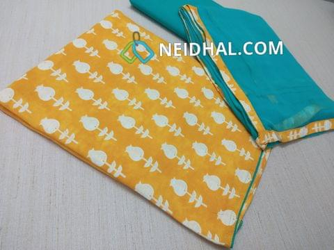 Printed Mango Yellow Rayon Unstitched Salwar material(flowy fabric), Turquoise Blue cotton bottom, Turquoise Blue Chiffon dupatta with taping
