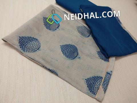 Printed Greyish Blue Visose Silk Unstitched salwar material(thin and flowy fabric, requires lining) with blue cotton bottom, Blue chiffon dupatta with taping