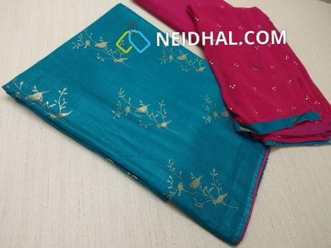 Golden Printed Teal Blue Rayon Slub unstitched salwar material(requires lining), Pink cotton bottom, Pink chiffon dupatta with dew drops and taping