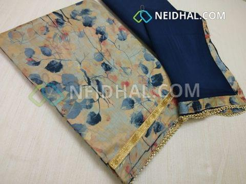 Beige Satin cotton Floral printed unstitched salwar material with zari daman patch, daman with bead taping, blue cotton bottom, Blue chiffon dupatta with bead taping.