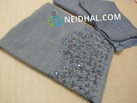 Designer Greyish Blue Slub Soft silk Unstitched salwar material(Soft  and thin Material Requires lining) with heavy bead, pipe and mirror work on yoke, Soft Santoon bottom, Thread and sequins work on Chiffon dupatta with lace taping