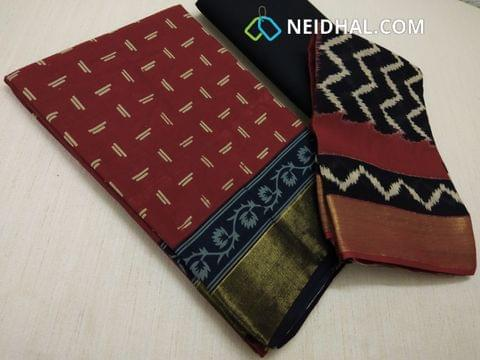Block Printed Red Cotton Unstitched salwar material(there might be variations in print alignment, density due to manual work) , daman patch,  Black Cotton Bottom, Block printed (there might be variations in print alignment, density due to manual work) cotton dupatta.(requires taping)