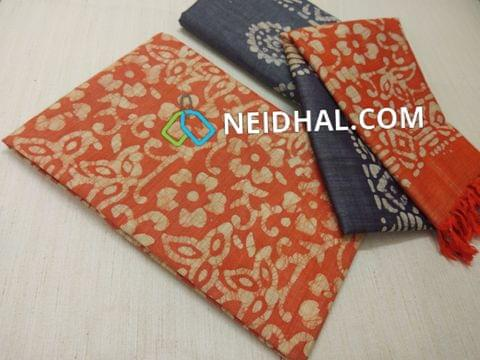 Batik Printed Orange  Bhagalpuri cotton silk(thick fabric, lining not required), BlueBhagalpuri cotton silk with prints at bottom side, Dual color Bhagalpuri Cotton silk dupatta with batick prints and tassels.