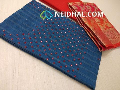 Premiun Blue Silk cotton unstitched salwar material(requires lining) with bead work on yoke, Red cotton bottom, Pink benaras weaving dupatta with tassels.
