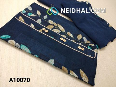 CODE A10070 : Printed Blue Satin Cotton Unstitched salwar material with yoke, Blue cotton bottom, Blue chiffon dupatta with taping