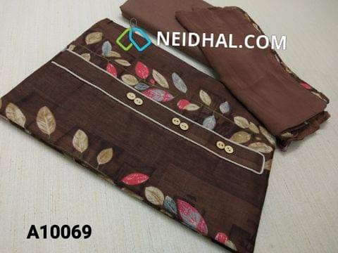 CODE A10069 : Printed Brown Satin Cotton Unstitched salwar material with yoke, Brown cotton bottom, Brown chiffon dupatta with taping