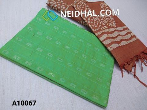 CODE A10067 : Green Jaquard Silk cotton Unstitched Salwar material(requires lining) with Brown batik dyed Bhagalpuri Cotton Silk bottom,  Brown batik dyed Bhagalpuri Cotton Silk dupatta with tassels.