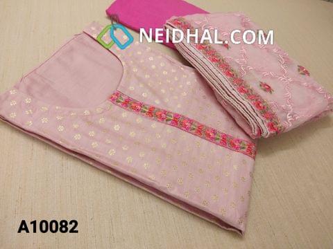 CODE A10082 : Designer Pink Silk Cotton unstitched salwar material(requires lining) with neck stitched, golden prints on front side, pink cotton bottom, super net dupatta with heavy thread work and taping.