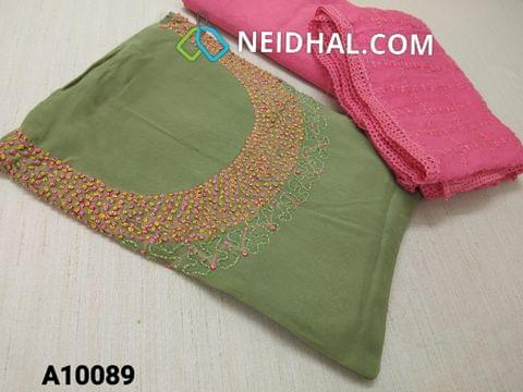 CODE A10089 : Designer Green Georgette unsitched salwar material(requires lining) with Heavy french knot, thread and bead work on yoke, daman taping, Pink Silk cotton bottom, Heavy thread and sequins work on green Chiffon duaptta with laces.