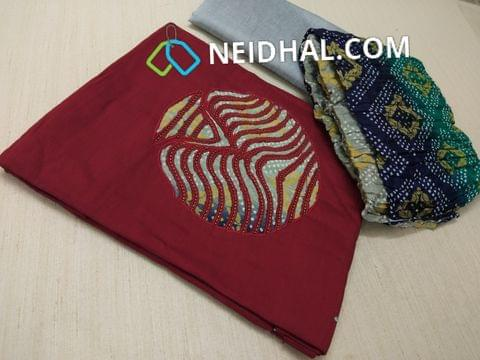Maroon Dupian Silk Cotton unstitched salwar material with patch work and bead work on yoke, Red Cotton bottom, Colorful bandhini printed crush short width dupatta