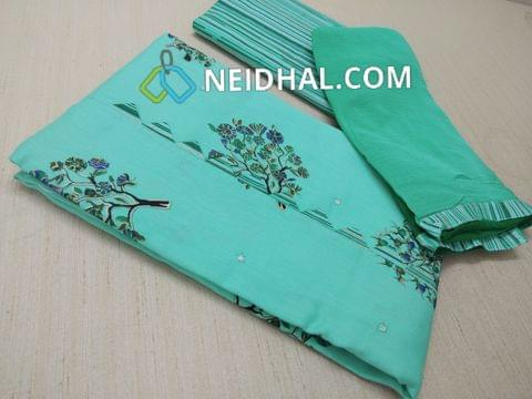 Blue Printed soft cotton unstitched salwar material(requires lining) , Printed cotton bottom, Chiffon dupatta with taping