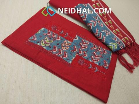 Printed Slub Red Cotton unstitched salwar material(requires lining) with patch work , french knot work, thread work on yoke, Red cotton bottom, Printed Art silk dupatta with tassels