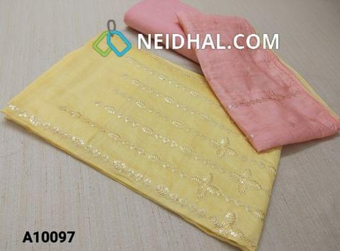 CODE  A10097 : Premium Yellow thin Silk cotton Unstitched salwar material(requires lining) with heavy thread and sequins work on yoke, Pink drum dyed cotton bottom(thin fabric with manual dyeing process), Soft Silk cotton short with dupatta with thread and sequins work.