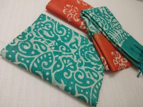 Batik Printed Green Bhagalpuri cotton silk(thick fabric, lining not required), Orange Bhagalpuri cotton silk with prints at bottom side, Dual color Bhagalpuri Cotton silk dupatta with batick prints and tassels.