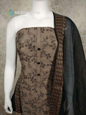 CODE R17 : Beige Cotton Unstitched salwar material(requires lining) with embroidery work on front side, plain back side, black Cotton Bottom, black silk cotton dupatta with tassels