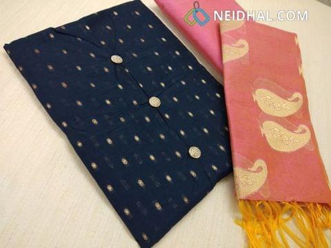 CODE A333 : Designer Navy Blue Silk cotton unstitched Salwar material(requires lining) with zari butta work, pink silk cotton bottom, Benaras weaving Silk Cotton Dupatta with tassles.