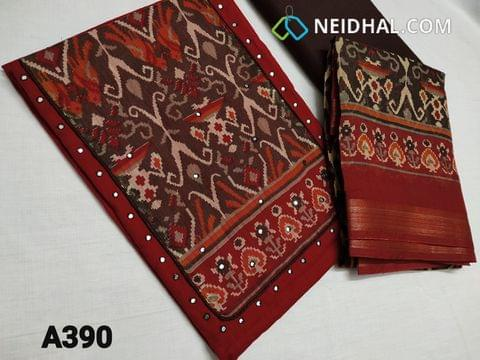 CODE A390 :  Dark Red Slub Cotton unstitched salwar material, Digital printed yoke patch work, faux mirror work on front side, Brown thin cotton bottom, digital printed silk cotton dupatta(taping needs to be stitched)