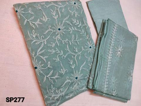 CODE SP277 : Designer Sober Greenish Blue Organza Unstitched Salwar material(thin fabric requires lining) with Heavy thread embroidery on front side, Santoon bottom, Organza dupatta with embroidery work